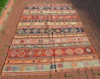 "Turkish Anatolian Kilim Rug 5'1""x8'3"" Handwoven Wool Kilim Rug Vintage Turkish Kilim Rug"