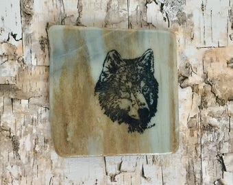 Natural Stone Coaster - Wolf Head