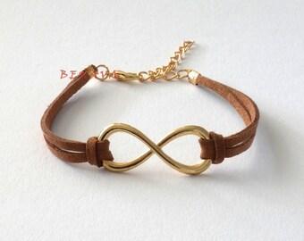 Infinity Bracelet Pendant brown / gold