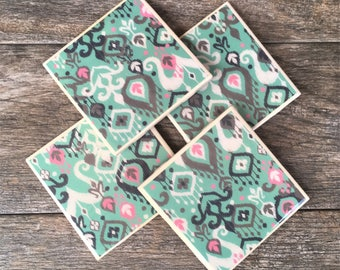 Turquoise Ikat Pattern Ceramic Coasters