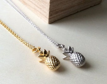 Pineapple Necklace, matte gold pineapple necklace, matte silver pineapple necklace, pineapple charm jewelry, tarnish resistant jewelry