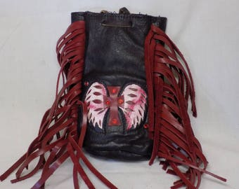 Red Motorcycle Purse with Cross and Wings