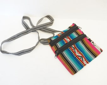 Vintage 90s Multicolor Tribal Print Small Cloth Purse