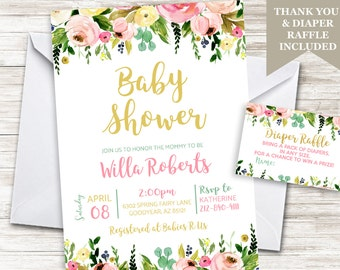 Baby Girl Shower Invite Invitation Watercolor Floral Digital Sprinkle 5x7 Garden Flowers Gold Pink