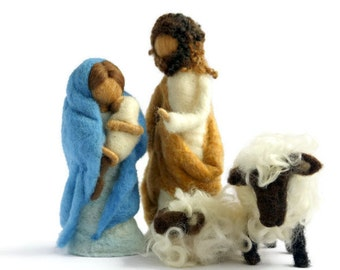 Waldorf Inspired Needle Felted Nativity Set (without sheep pictured)