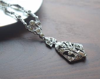 Antique Art Deco Silver and Crystal Rhinestone Lavalier Bridal Pendant Necklace