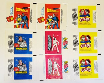 Pack of 9 Saturday Night Fever and Grease Gum Wrappers, Trading Card Wrappers