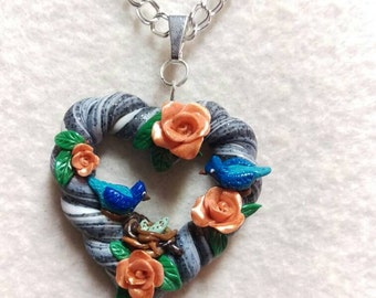 Blue Birds heart necklace