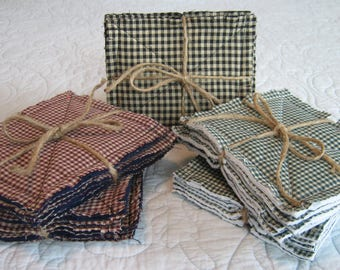Rag Quilt Coasters / Primitive Coasters / Black Coasters / Green Coasters / Cranberry Coasters / Cloth Coasters