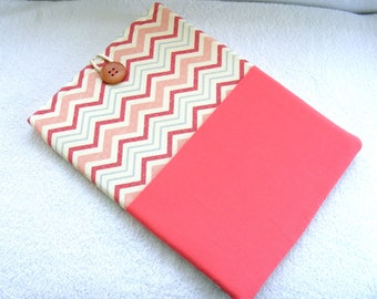 "13 Inch MacBook Pro Cover, 13 Inch MacBook Air Cover, MacBook Laptop Cover, 13 Inch Laptop Case, Coral Pink Chevron, 15 1/2"" x 11"" Case"