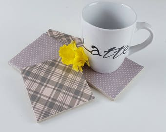 Handmade set of 4 ceramic coasters with polka dot and tartan pattern, Square drinks coasters perfect as uniqe gift