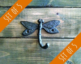 Set of 5 Dragonfly Hooks | Cast Iron Hook | Garden Hook | Rustic Hook | DIY Decor | Nursery Hook | Set of Wall Hooks | Coat Rack Kit