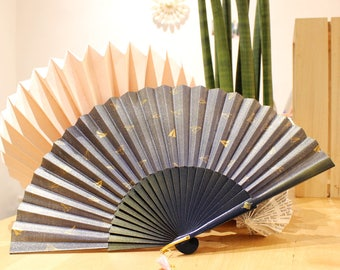 Hand fan golden paperplane - 23cm