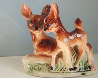 Vintage Deer Planter, Mother and Baby Deer Planter, Doe and Spotted Fawn Planter, Deer Container/Figurine, Small Indoor Deer Planter