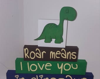 Handmade dinosaur blocks 'roar means i love you OK dinosaur'