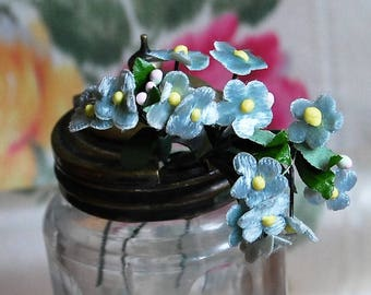 Doll Bear Scale Velvet Millinery Posy Flowers, several color variations of the same style,