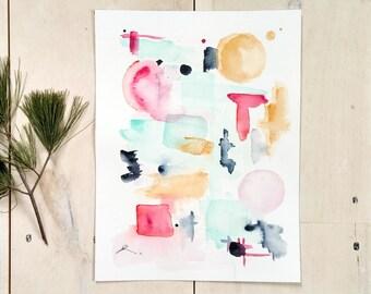 Scandinavian Watercolour, original painting, gallery wall art, living room decor, Abstract shapes, original watercolor, soft colours