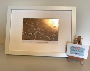 """Framed """"Home Is Where The Heart Is"""" Print - Personalised Foil Map"""