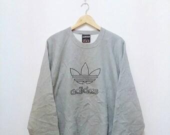 Hot Sale!!! Rare Vintage 90s ADIDAS TREFOIL Embroidery Big Logo Pullover Crewneck Sweatshirt Hip Hop Skate Swag Large Size