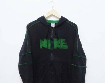 Hot Sale!!! Rare Vintage NIKE BLOCK Big Logo Zip Hoodie Sweatshirt Hip Hop Skate Swag Large Size