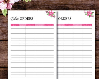 Online Shopping Tracker Printable, Order Tracker, Printable Package Tracking Planner Insert, Shopping List, Online Order, A5/A4/ US Letter
