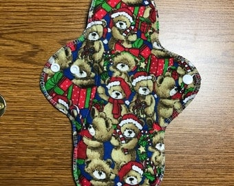 DISCOUNTED 11 inch HEAVY Absorbency Reusable Menstrual Cloth Pad - Christmas Bears