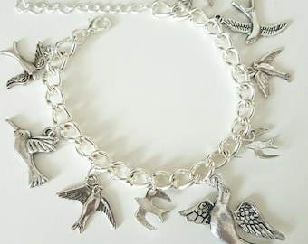 Dove and swallow charm bracelet
