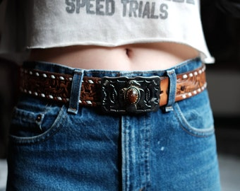 Tooled Leather Belt with Thunderbird Buckle   Women's Vintage   USA