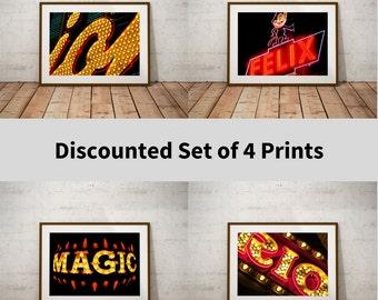 Set of 4 Prints,Discount,Neon Sign,Las Vegas,Kitsch,Retro,Fine Art Photography,Large Wall Art,Art Prints,Room Decor,Wall Art,Dorm Wall Art,