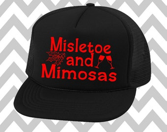 Misletoe and Mimosas Christmas Trucker Hat Snapback Hat Custom Trucker Hat Mimosas Hat Christmas Party Hat Gym Hat