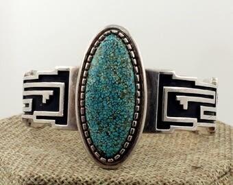 Navajo Sterling Silver Gem Grade Number 8 Mine Turquoise Modernist Bracelet by Alvin Tso