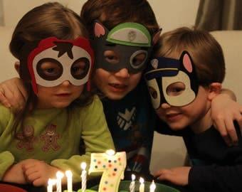 Paw Patrol Birthday Party Favors, Bulk Paw Patrol Mask, Paw Patrol Party Package, Skye Marshall Chase Party Favors, Skye Mask, Chase Mask