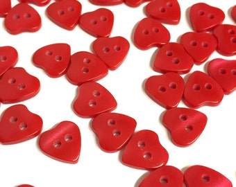 10, red heart buttons, heart shaped buttons, tiny buttons, opalescent buttons, dolls buttons, baby buttons, valentines buttons, red buttons