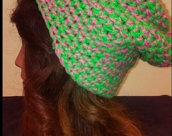Green and Pink Slouchy Hat