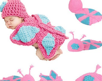 Newborn Butterfly Crochet Photography Prop Outfit