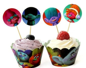 24 pcs/Set Trolls Cartoon  Cupcake Wrappers and Toppers -Party Decoration