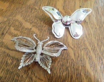 Set of 2 Vintage Butterfly Pins