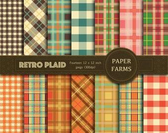 Retro plaid digital paper, retro digital paper, retro plaid scrapbooking paper, gingham, tartan, instant download