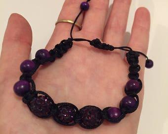 Purple shamballa beaded bracelet, Shamballa bracelet, purple beaded bracelet, Pave beaded bracelet item 416 by CraftyLittleMonkeyGB