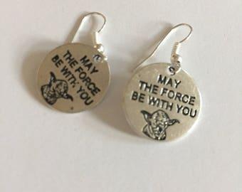 Star Wars earrings, Yoda earrings, May the force be with you earrings, Star Wars jewellry item 531 by CraftyLittleMonkeyGB