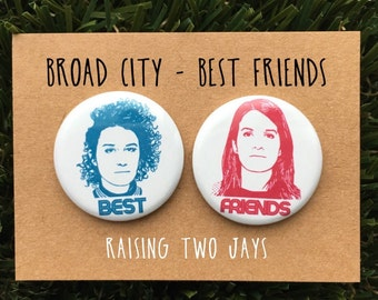 "Broad City Pin Set - Best Friends, Yas Queen, Ilana, Abbi, New York, Jews, Gift For Her, Feminist, 1.25"" or 2.25"" (Buttons or Magnets)"