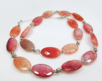 "New Sterling silver 925 Handmade Necklace with Big Oval 20x12mm Pink Red Jasper Gems and Hammered Beads, Length 18"" (TRN60)"