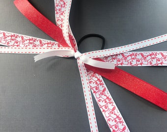 Heart Ribbon Ponytail Streamers