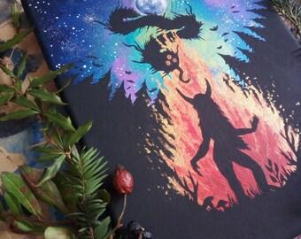 "Original iridescent acrylic painting ""dark ritual"""