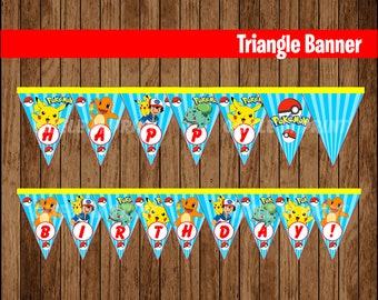 Pokemon Banner, Printable Pokemon Triangle Banner, Pokemon party Banner instant download