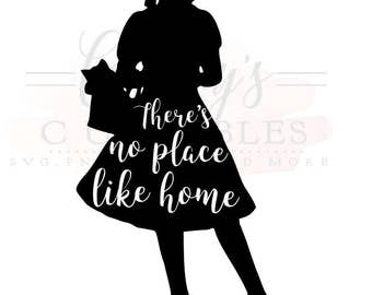 Dorothy svg/ Wizard of Oz SVG / There's No Place Like Home/ Dorothy and Toto Silhouette. PNG File included