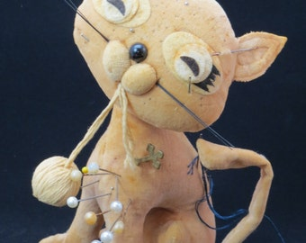 """Cat with Character """"Dream Pet"""" Pin Cushion Made in Japan in the 1960s"""