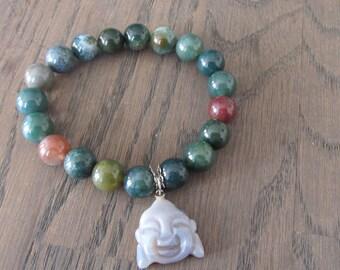 India Agate Buddha bracelet