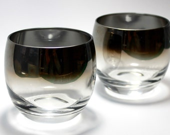 Vintage silver ombre fade roly poly glasses - set of two
