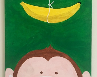 Monkey and Banana Canvas Painting